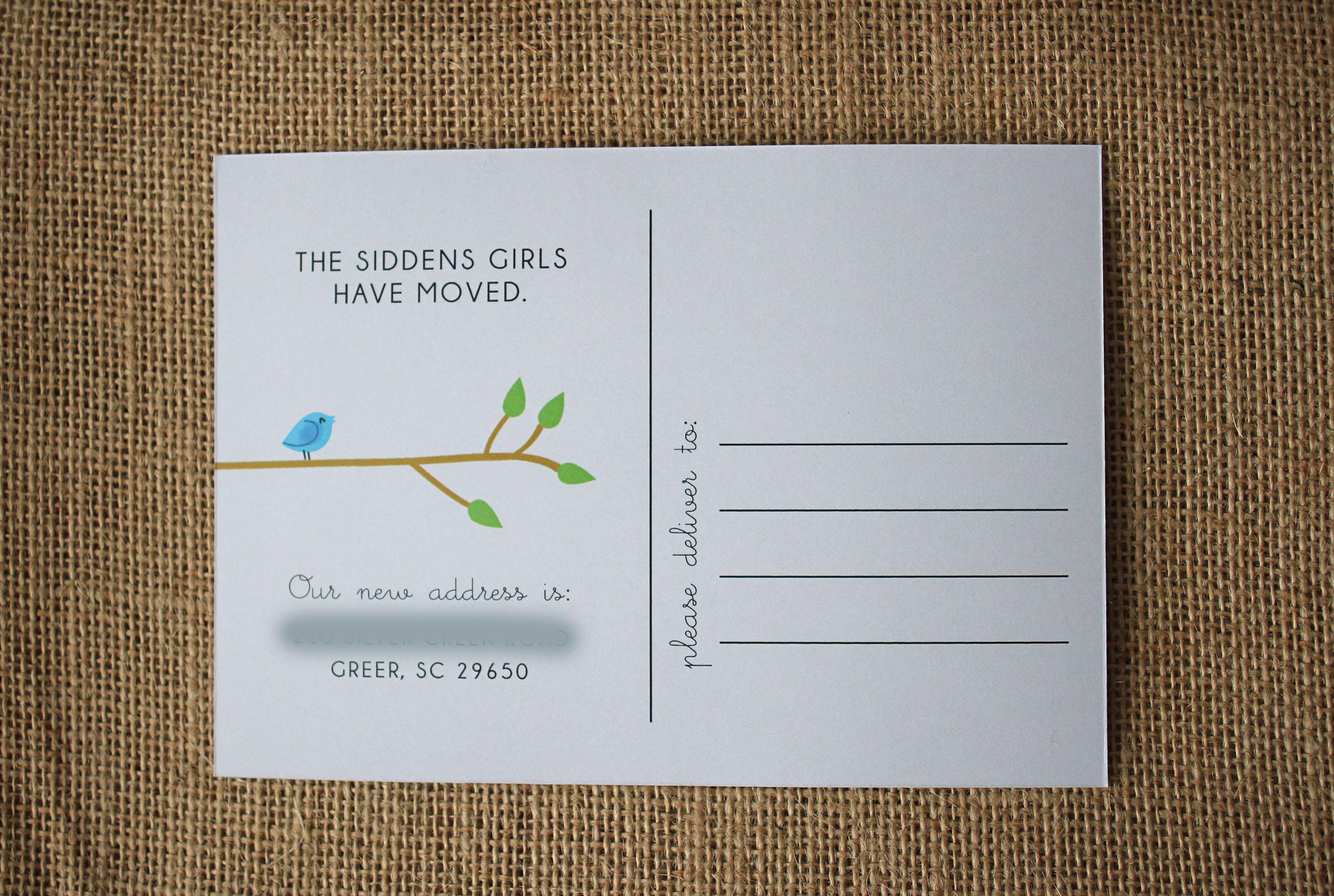 change of address postcard lucy zeiger